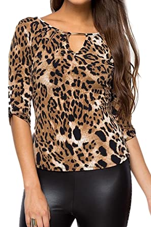 0688a97a4 Women's Hot Bandage Leopard Print Long Sleeve Bodycon T-Shirt Top Tee Khaki  XS