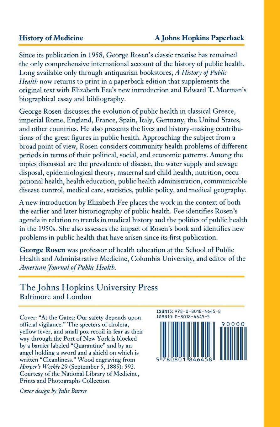 a history of public health george rosen  a history of public health george rosen 9780801846458 preventive medicine amazon