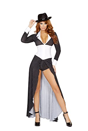 c7f3cfbc32d Amazon.com  2 Piece Gangster Mob Wife Pinstripe Long Coat   Shorts Party  Costume  Clothing