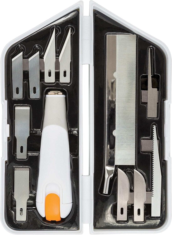 Fiskars Kit Universal para Esculpir, Cincelar y Serrar, Cúter de Precisión y Set de Cuchillas, Longitud total: 21 cm, Acero de calidad/Plástico, Blanco/Naranja, Premium, 1024385