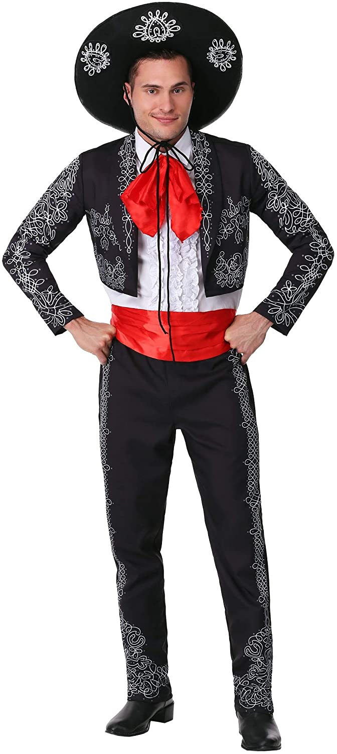 Adult Three Amigos Costume Men's Black Mariachi Suit Costume with Mexican Sombrero