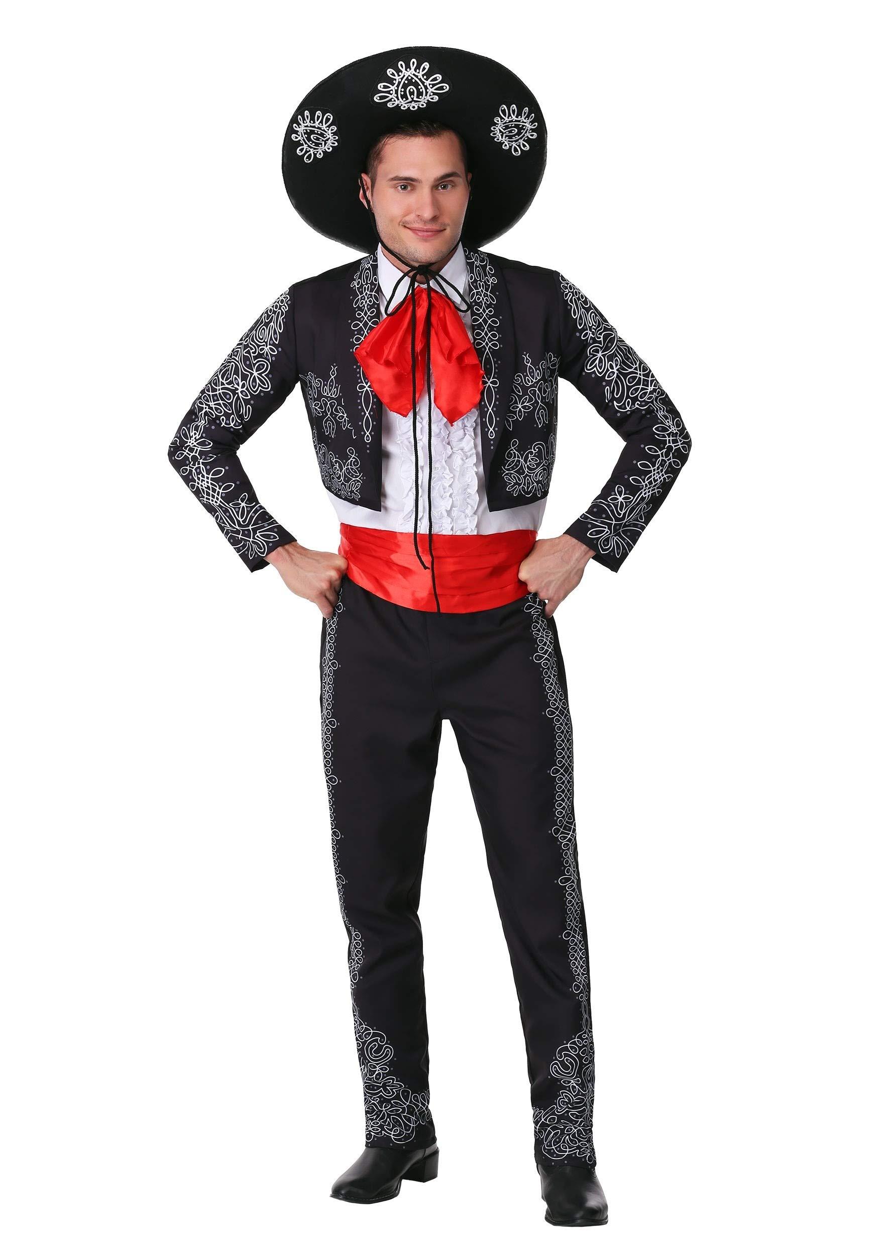 Adult Three Amigos Costume Men's Black Mariachi Suit Costume with Mexican Sombrero