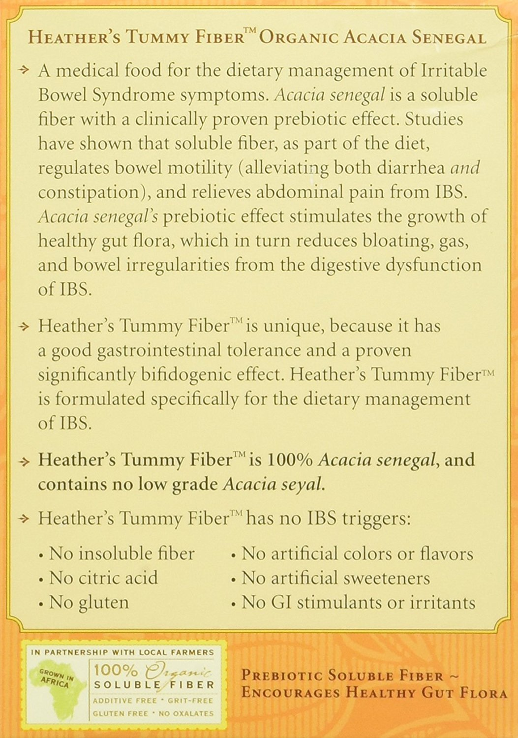 Heather's Tummy Fiber Organic Acacia Senegal Travel Packets for IBS, 75 Count by Heather's Tummy Care (Image #3)