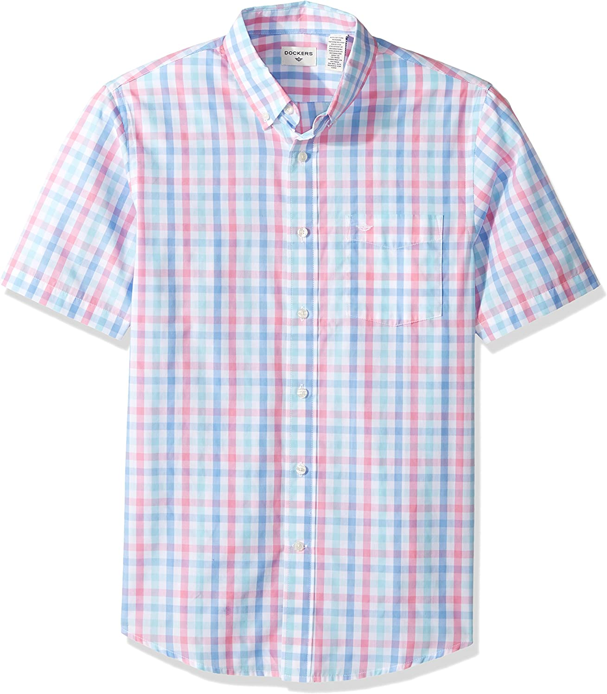 Dockers Camisa sin mangas para hombre, sin botones, de manga corta con botones, Aurora Pink Gingham, X-Large: Amazon.es: Ropa y accesorios