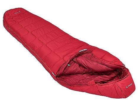 Vaude Sioux 800 SYN, Saco de Dormir con cremallera a la derecha, color rojo