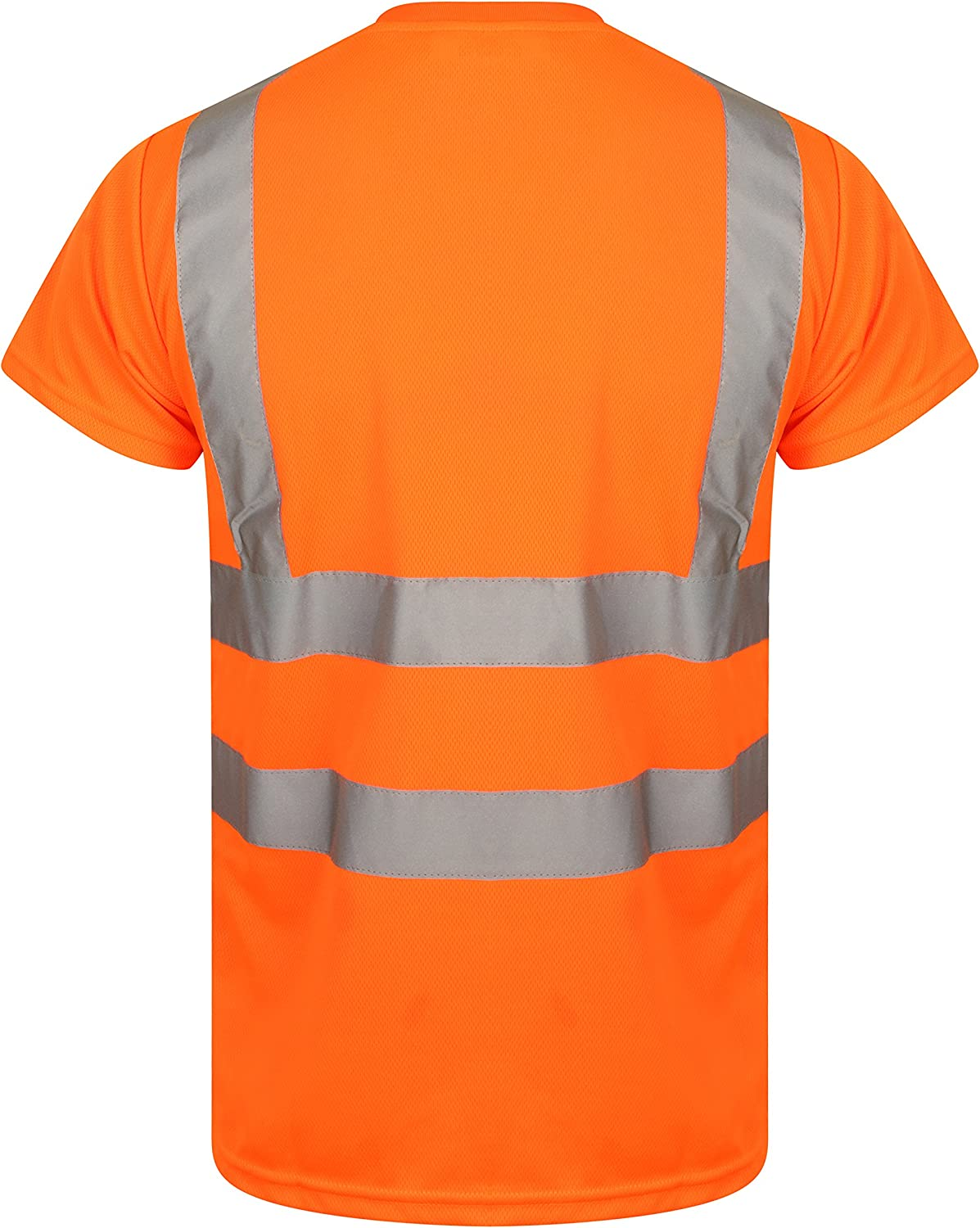 HuntaDeal Hi Viz VIS High Visibility T-Shirt Crew Neck Reflective Tape Safety Security Work Short Sleeve Tee Polo Breathable Lightweight Double Tape Workwear Top Plus Size Big Size Large EN ISO 20471