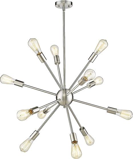 Jazava 12 Light Sputnik Style Chandeliers Arachnid Pendant Light Elegant Modern Industrial Starburst Style Ceiling Light Fixture Nickel Brushed Japlb0012s Amazon Co Uk Lighting