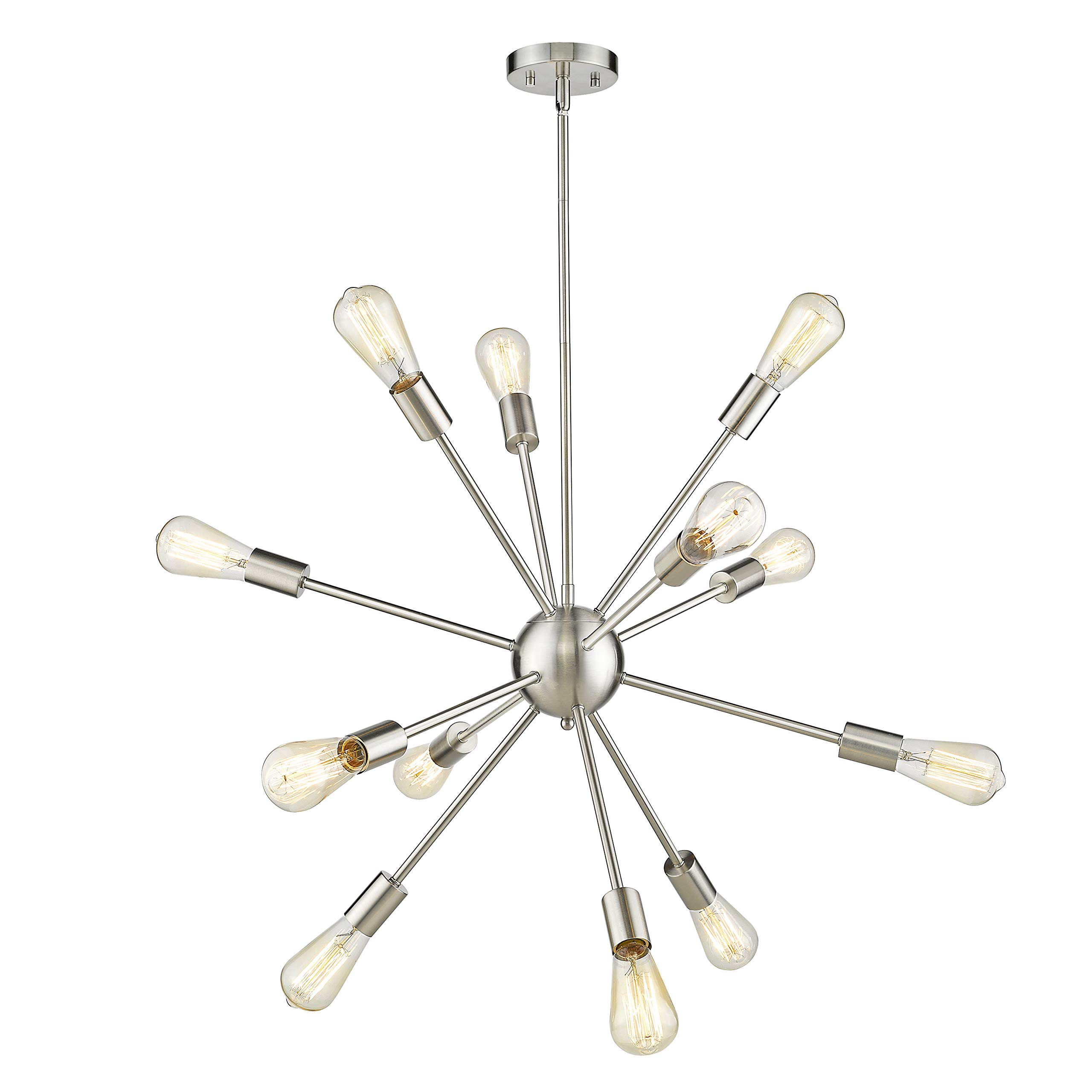 Jazava Modern Sputnik Chandelier, 12-Light Starburst Pendant Lighting, Mid-Century Hanging Light Fixture, Nickel Brushed