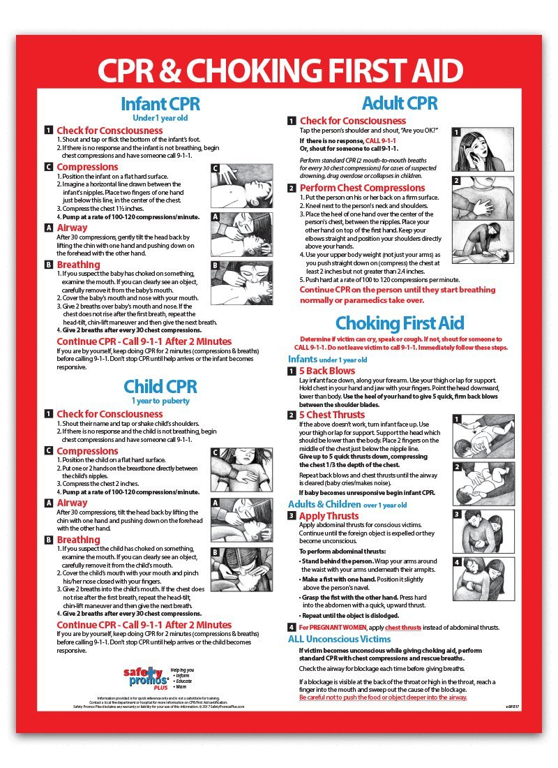Cpr choking first aid poster chart for infants children cpr choking first aid poster chart for infants children adults 18x24 laminated amazon industrial scientific xflitez Image collections