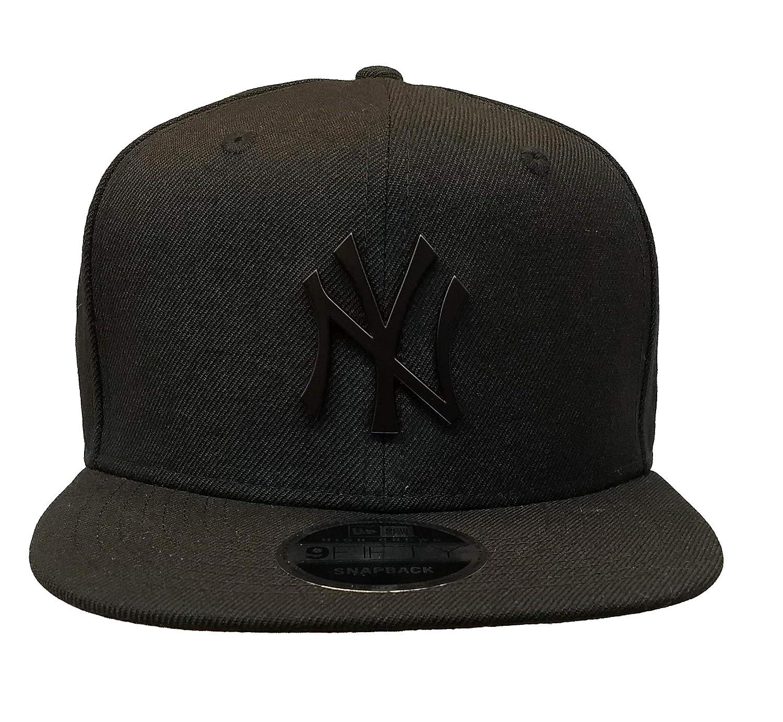 Amazon.com  New Era New York Yankees Black On Black Metal Logo High Crown  Snapback Cap 9fifty  Clothing bf22c88825f