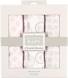 Hudson Baby Muslin Swaddle Blankets, Atrapa sueños, 117 cm x 117 cm