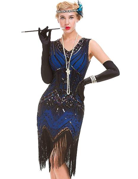 Vestido Gatsby Vintage Art Déco para Mujer - Vestido Estilo Flamenco de los años 20 (