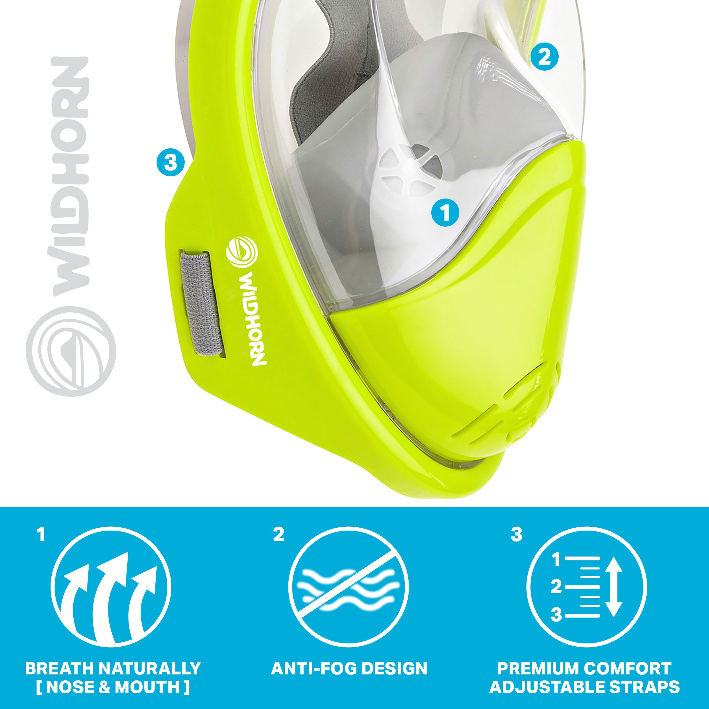 Seaview 180° GoPro Compatible Snorkel Mask- Panoramic Full Face Design. See More With Larger Viewing Area Than Traditional Masks. Prevents Gag Reflex with Tubeless Design (Electric, S/M) by WildHorn Outfitters (Image #5)