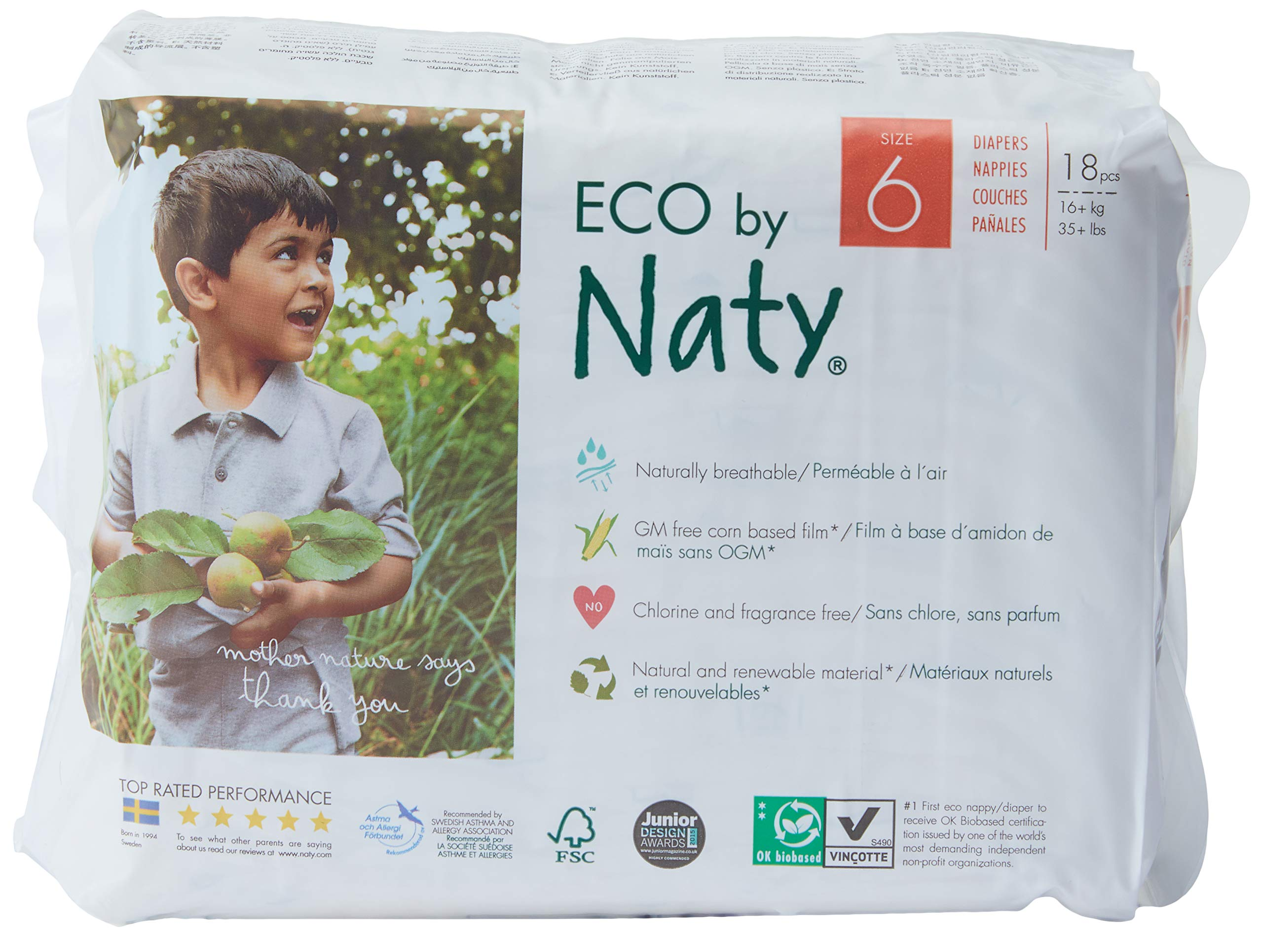 Naty by Nature Babycare Eco-Friendly Premium Disposable Diapers for Sensitive Skin, Size 6