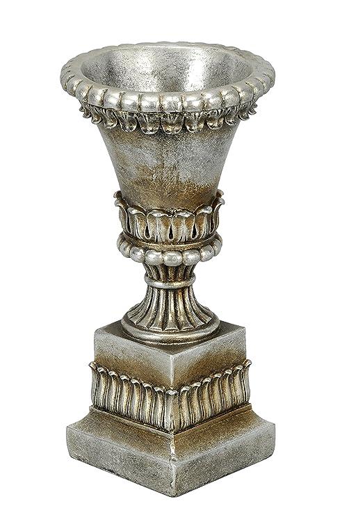 A-Deko – Copa en Soporte Artículo Decorativo, Magnesia, Plata Envejecida, 16