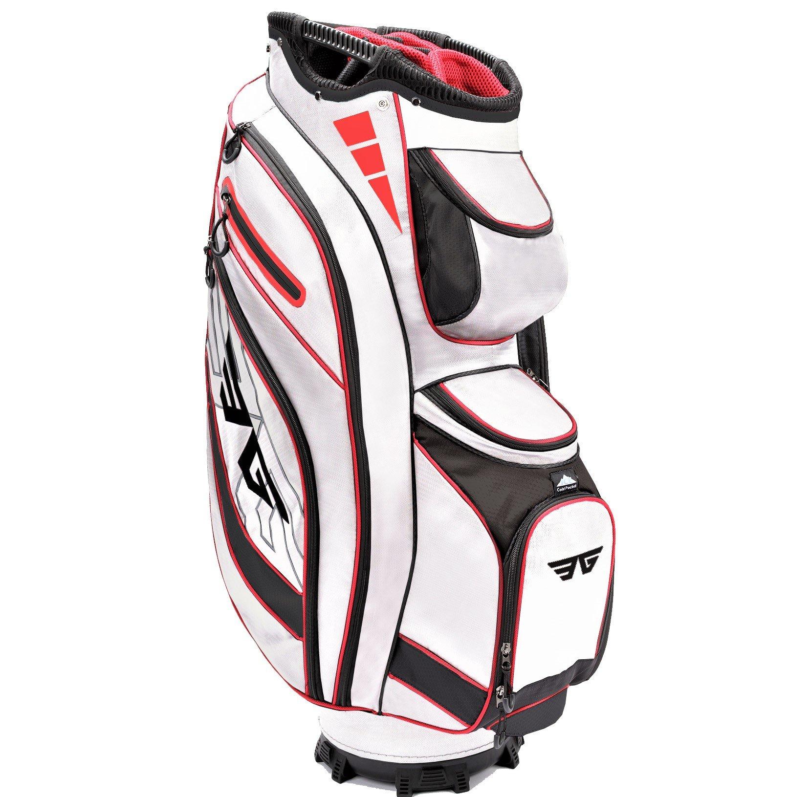 Eagole Super Light Golf Cart Bag,14 Way Top and Full Length Divider,10 Pockets (White) by EG EAGOLE