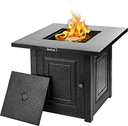 Autlead Hf28192 Gas Fire Pit Table 28 Inch 40 000 Btu Self Ignition Fire Table With Lid Clean Burning High Quality And Waterproof Steel Surface Summer Table Amazon De Garten