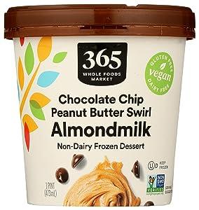 365 by Whole Foods Market, Non-Dairy Frozen Dessert, Almondmilk - Chocolate Chip Peanut Butter Swirl, 16 Ounce