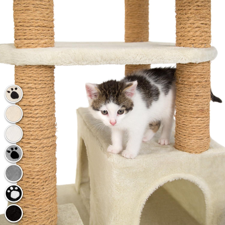 TecTake Árbol rascador para Gatos 214 cm de Altura | 4 Plataformas de observación | 4 cómodas madrigueras (Gris | no. 402807): Amazon.es: Hogar