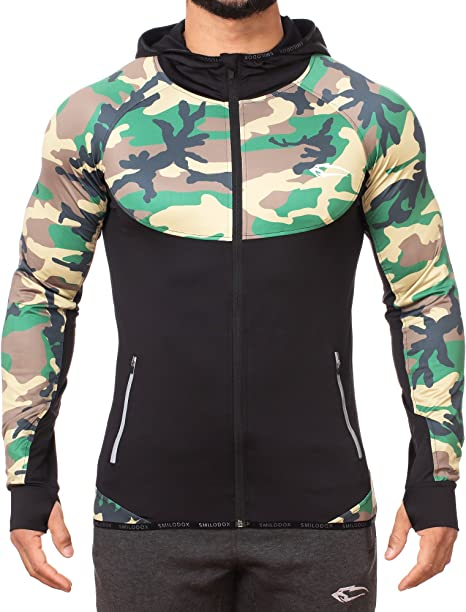 Smilodox - Sudadera con capucha 'Strength' para hombre, de corte ajustado, con cremallera, para deporte, gimnasio, chaqueta de entrenamiento, sudadera deportiva, sudadera con capucha