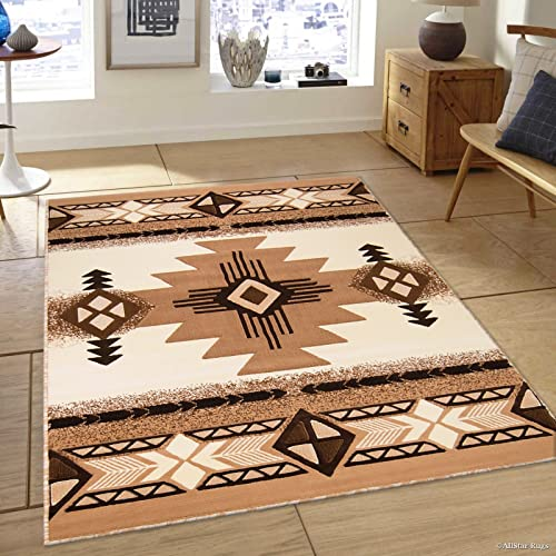 Allstar 5×7 Ivory and Mocha Navajo Machine Carved Effect Rectangular Accent Rug with Espresso and Chocolate Geometric Design 5 2 x7 1