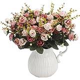 Lot de deux bouquets de roses artificielles en soie - 7branches et 21capitules - Décoration de fête, d'intérieur, de mariage - Amkun