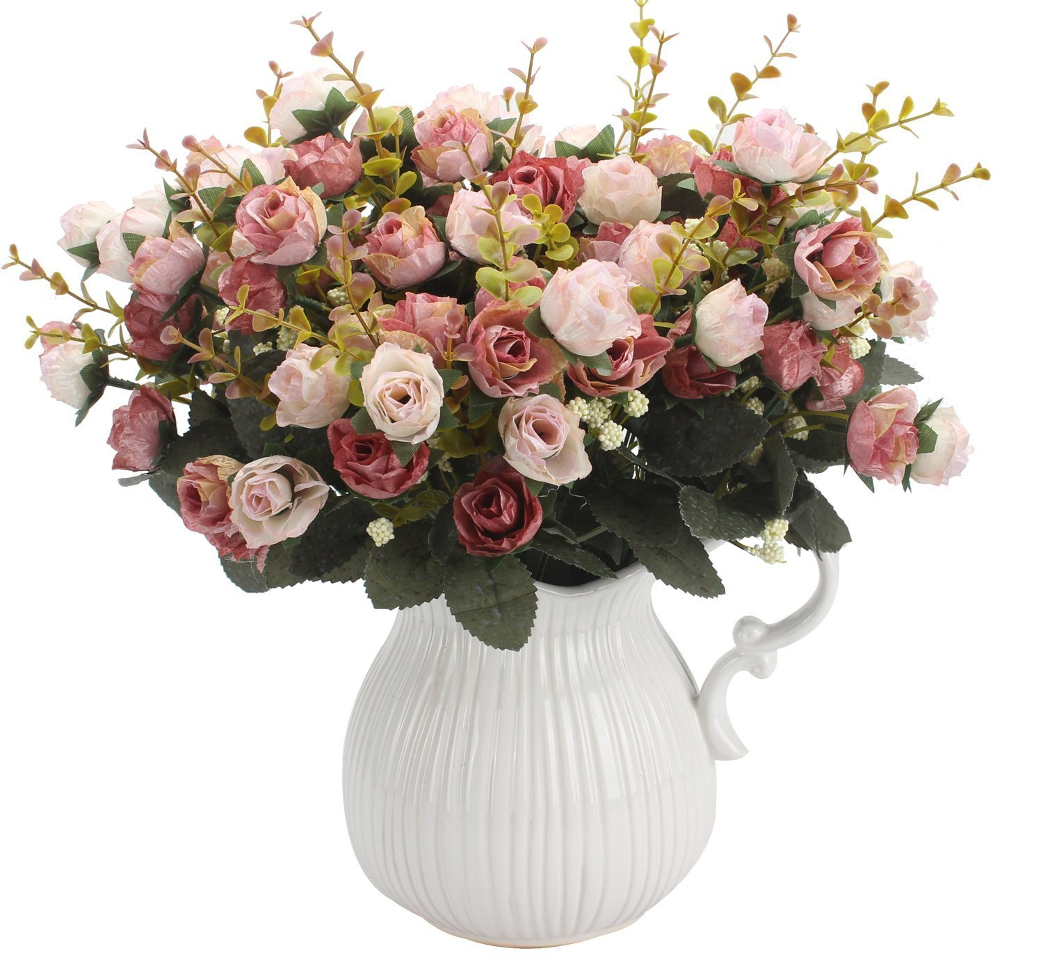 Amkun 7 Branch 21 Heads Artificial Rose Silk Fake Flowers Home Party Wedding Decor Bouquet (Pink Coffee)