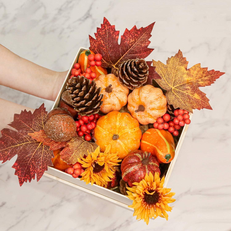 simpdecor Artificial Pumpkins Set Fake Lifelike Mini Pumpkins with Maple Leaves, Acorns, Pinecones for Halloween Fall Harvest Thanksgiving Decoration