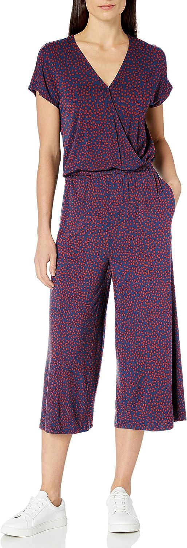 Short-Sleeve Surplice Cropped Jumpsuit Jumpsuits-Apparel Femme Essentials Short-Sleeve Surplice Cropped Jumpsuit
