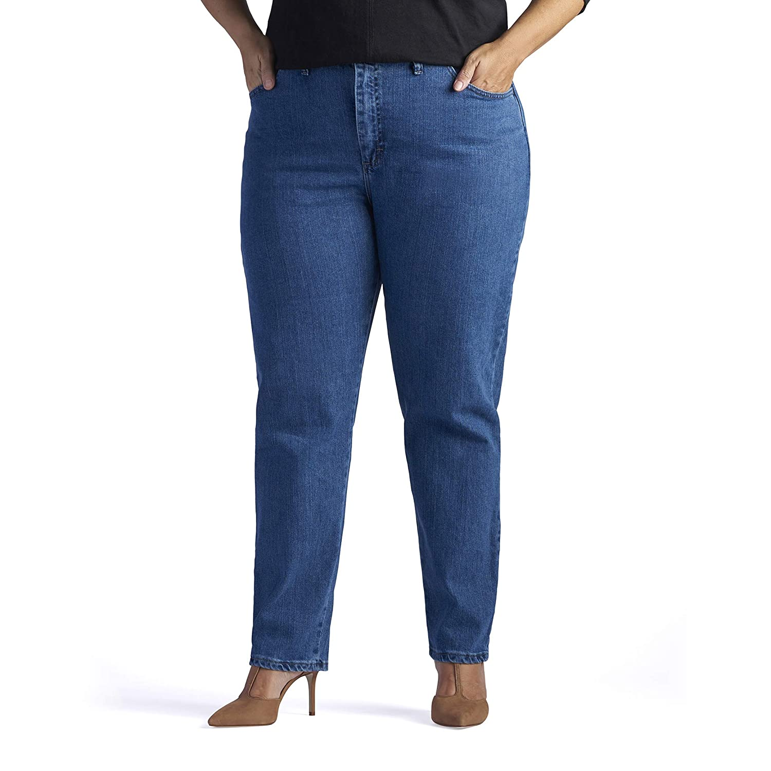 957b1e8a412 Amazon.com  LEE Women s Plus Size Relaxed-fit Elastic-Waist Jean  Clothing