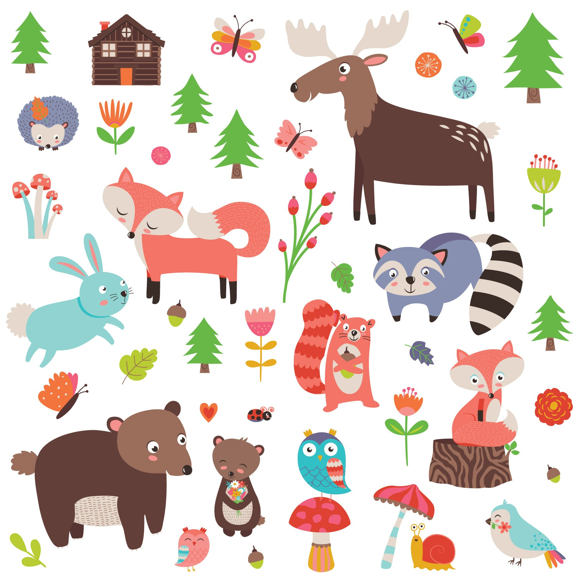 Woodland Animals Decorative Peel & Stick Wall Art Sticker Decals for Kids Room or Nursery