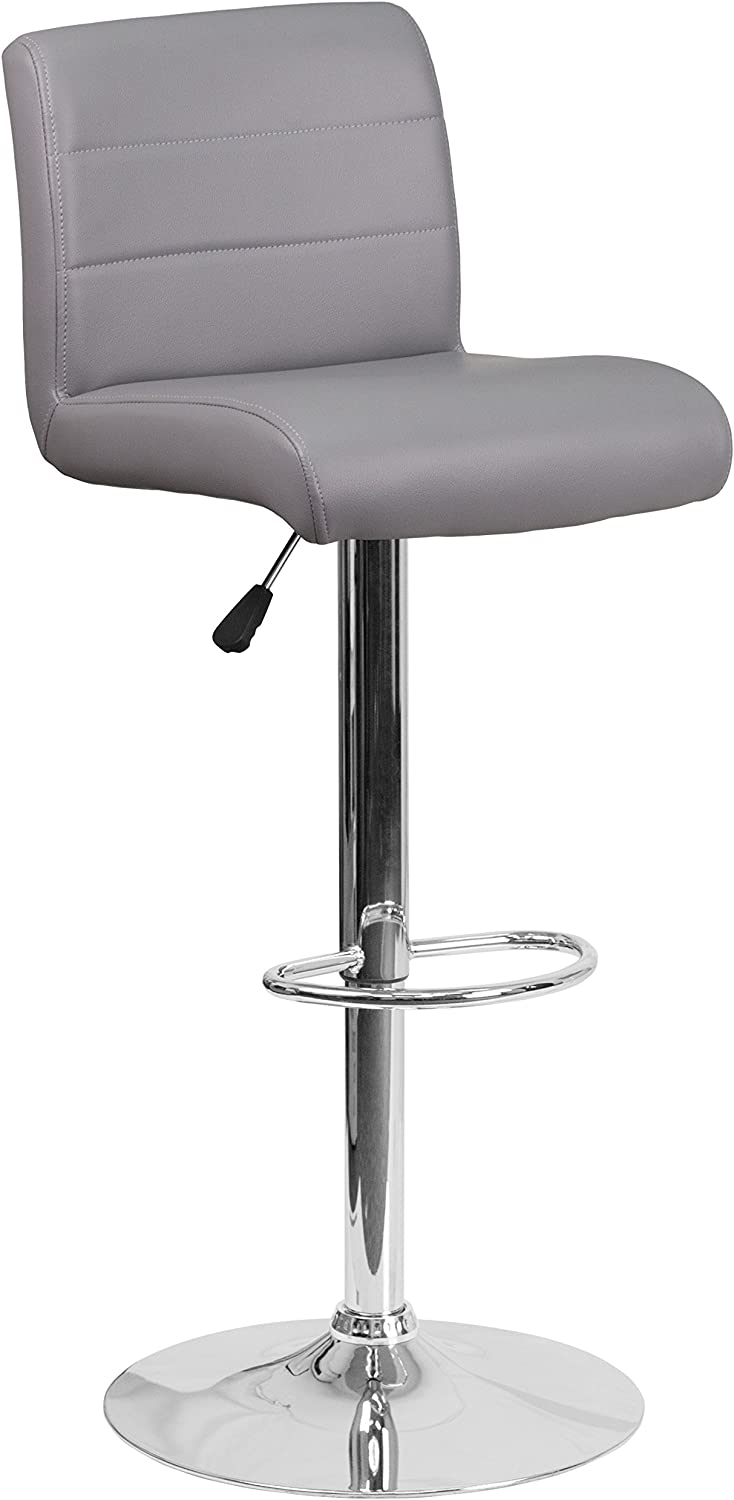 Flash Furniture Contemporary Gray Vinyl Adjustable Height Barstool with Rolled Seat and Chrome Base