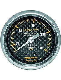 "Auto Meter 4711 Carbon Fiber 2-1/16"" 0-15 PSI Mechanical Fuel Pressure Gauge"