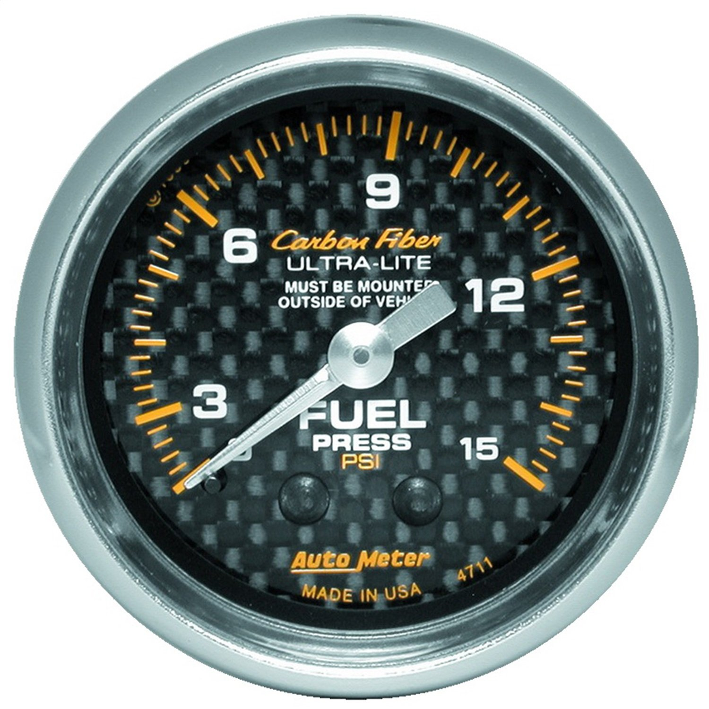 Auto Meter 4711 Carbon Fiber Mechanical Fuel Pressure Gauge