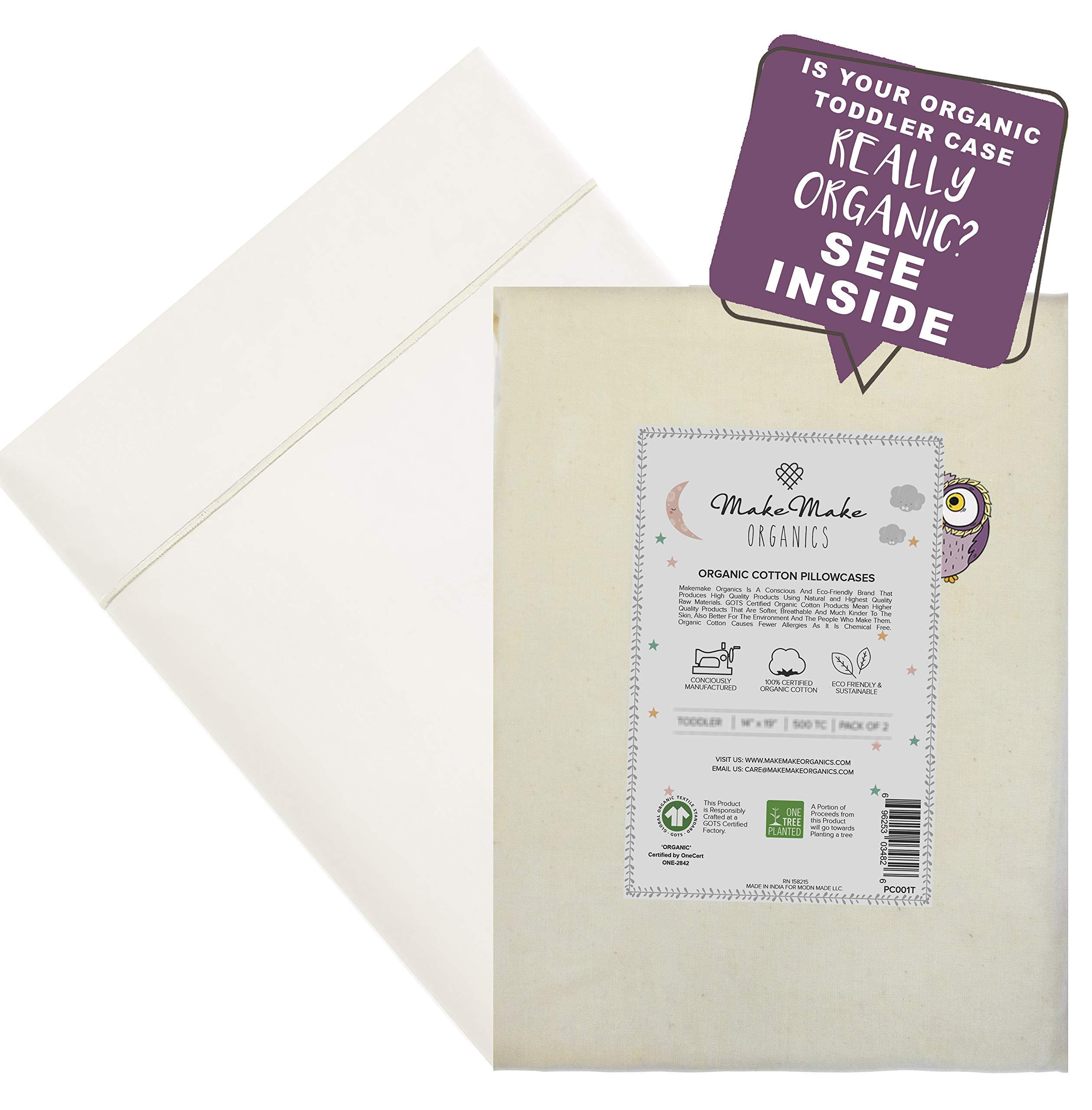 MakeMake Organics Organic Cotton Pillowcase Kids (Set of 2) GOTS Certified Organic Pillowcase Youth Junior Chemical Free Anti Allergy Ultra Soft Safe Fits 14x20 Youth Junior Kids (Pearl White, 16x22) by MakeMake Organics