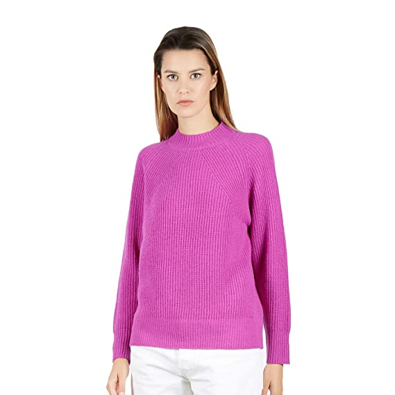 e00aa4d184a Pullover Sweater Crew Neck Women in 100% Lambswool Color Lilla  Size S
