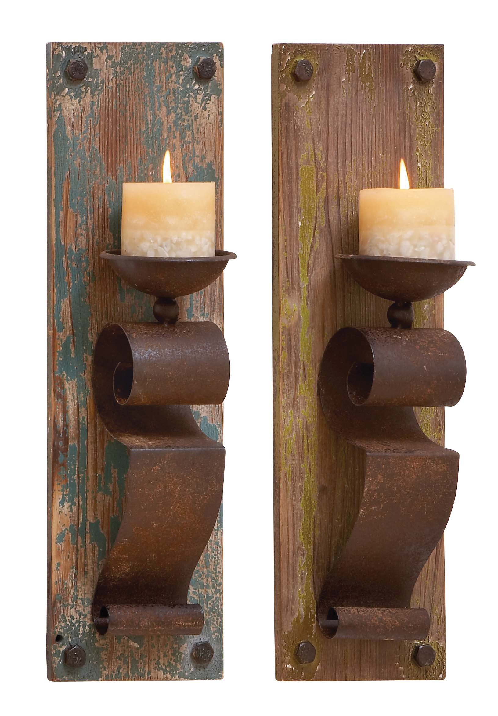 Deco 79 Deco 79 Wood Candle Sconce, 6 x 19'', Assorted,(Pack of 2)