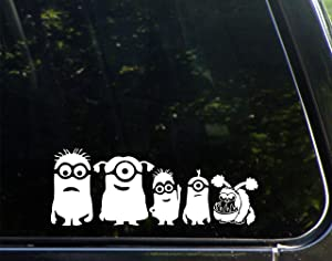 "Minion Family with Dog - 9"" x 3-1/4"" - Vinyl Die Cut Decal Bumper Sticker for Windows, Cars, Trucks, Laptops, Etc."