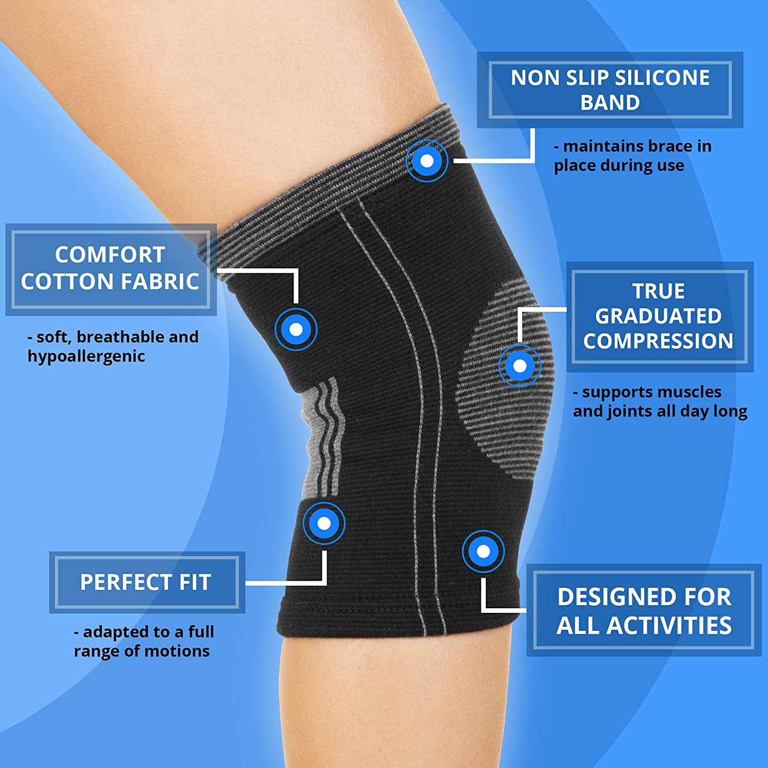 Single ACL MCL Injury Recovery Arthritis Joint Pain Relief Women and Men Support Sleeve for Running Soft and Comfortable SocksLane Cotton Compression Knee Brace