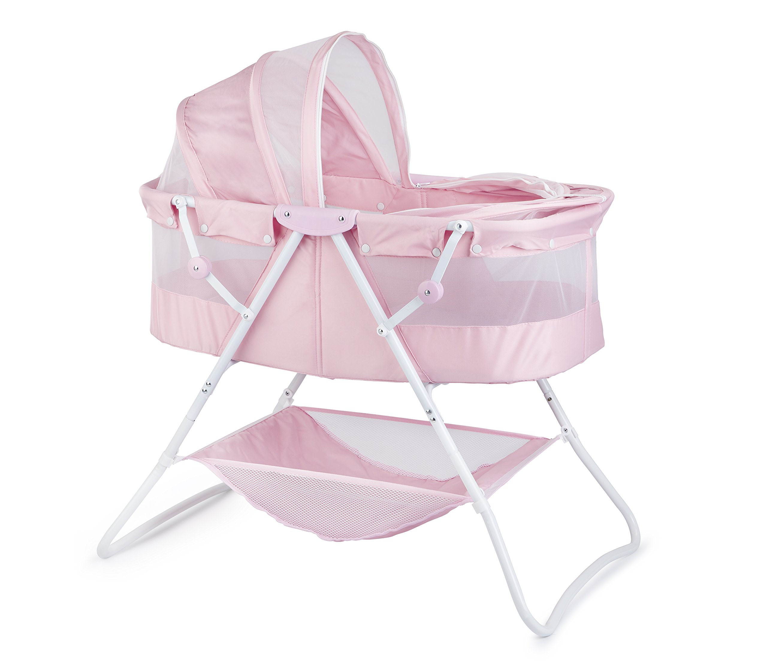 Big Oshi Emma Newborn Baby Bassinet - Portable Co Sleeper Bassinet for Boys or Girls - Perfect for Bedside, Indoors, or Outdoors - Lightweight for Travel - Canopy Netting Cover - Wood Bed Base, Pink