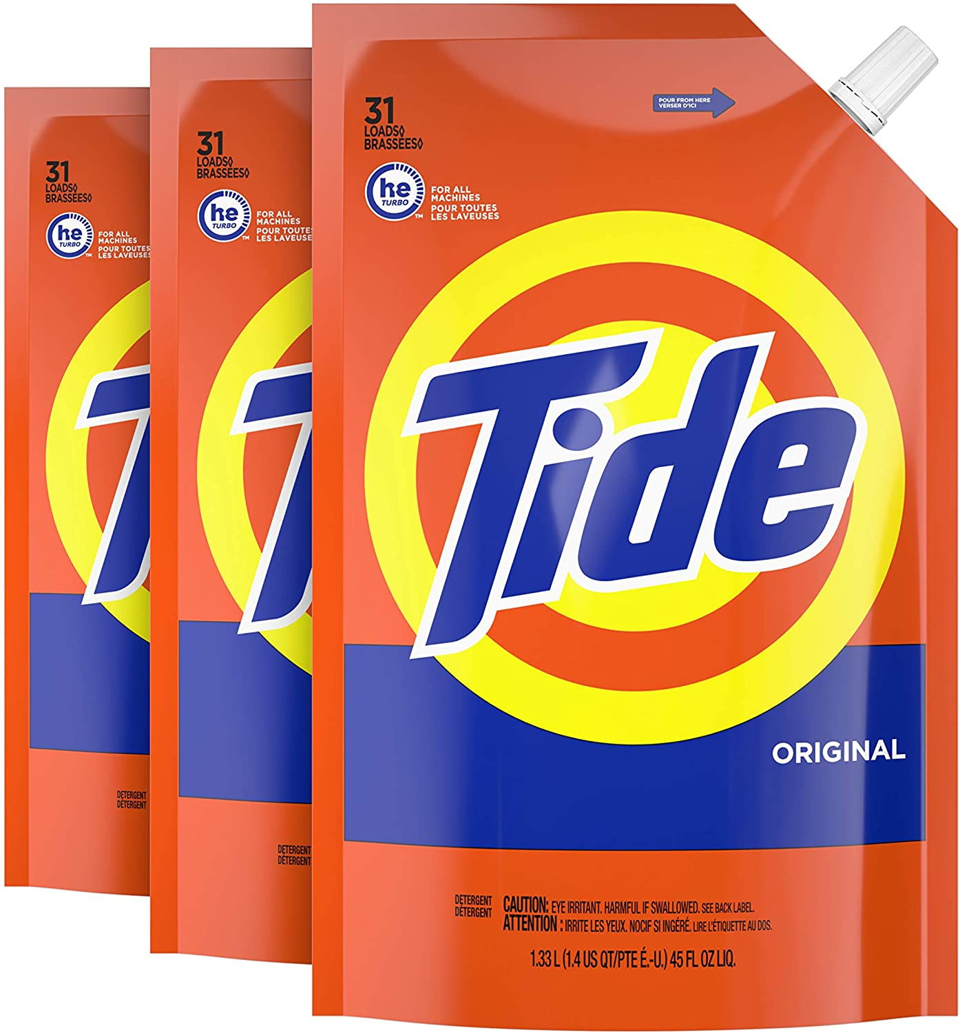 Tide Liquid Laundry Detergent, Original Scent, Pack of 3, 93 total loads