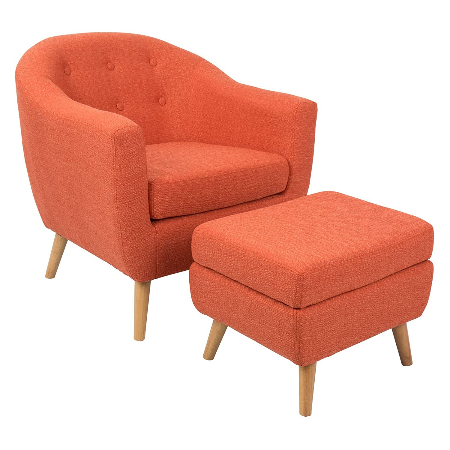 amazoncom lumisource rockwell chair with ottoman orange kitchen  dining. amazoncom lumisource rockwell chair with ottoman orange