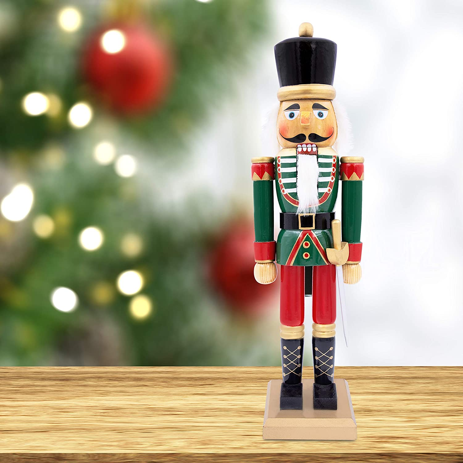 The Christmas Workshop 11 Wooden Nutcracker 11cm Tall  Multi-Coloured  Soldier On Stand  Christmas Decorations, Wood