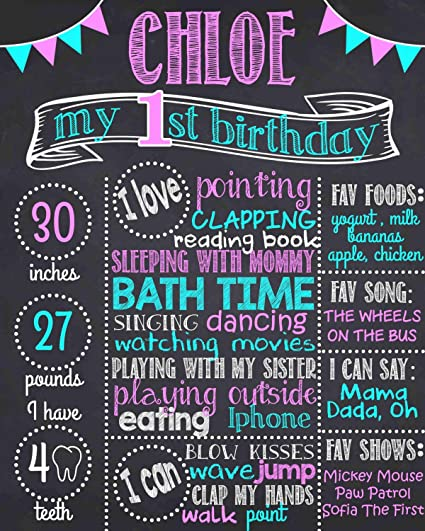 photograph regarding First Birthday Chalkboard Printable referred to as : Dozili Custom-made Very first Birthday Chalkboard