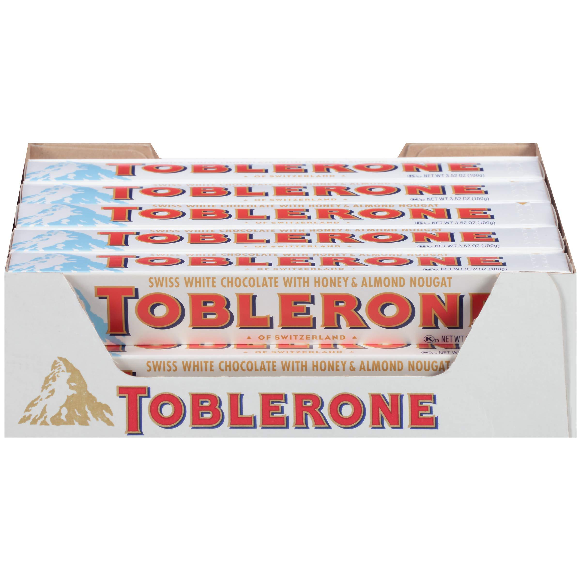 Toblerone Swiss White Chocolate Bars with Honey & Almond Nougat, Easter Chocolate, 20 - 3.52 oz Bars