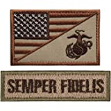 ELLEWIN USA Marine Corps USMC Patch Semper Fidelis Embroidery Patch Military Tactical Morale Badge Patch Hook and Loop