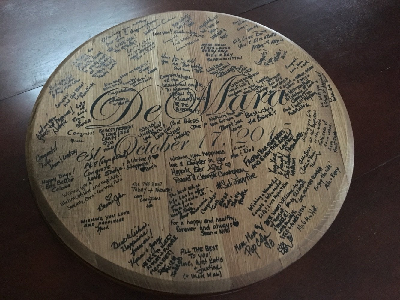 Personalized Bourbon Barrel Head Wedding Guest Book