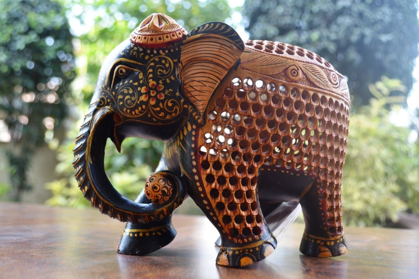 CraftVatika Wooden Elephant Statue- Mother Baby Figurine- Hand Painted Hand Craved Wooden Mother Elephant Figurine India with a Baby Elephant Inside