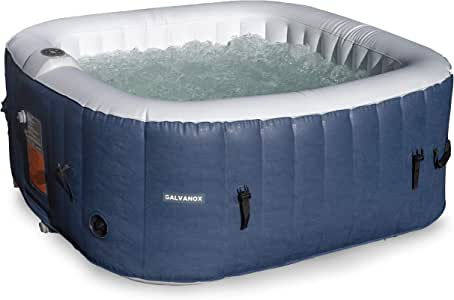 GALVANOX Inflatable Hot Tub, 2-4 Person Blow Up Portable Spa with Built in Heater and Bubble Massage