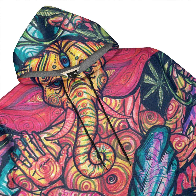 IOP56WE Mens Trippy Smoke Magic Mushrooms Pullover Hoodies Retro Hooded Sweatshirts